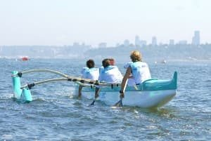 The SOCC Women's team pulls for Alki Beach during the 2011 Da Grind.